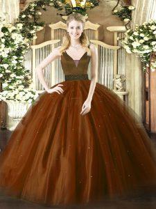 Nice Brown Straps Neckline Beading 15th Birthday Dress Sleeveless Zipper