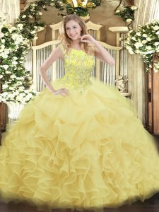 Hot Sale Beading and Ruffles Quince Ball Gowns Yellow Zipper Sleeveless Floor Length