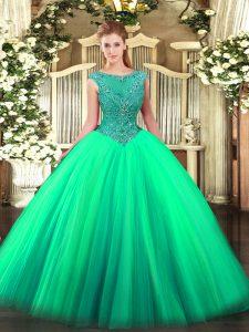 Elegant Turquoise Sleeveless Floor Length Beading Zipper 15th Birthday Dress