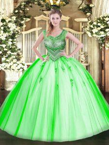 Ideal Tulle Sleeveless Floor Length Sweet 16 Dress and Beading