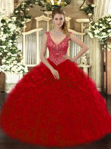 Dazzling Wine Red Ball Gowns V-neck Sleeveless Organza Floor Length Zipper Beading and Ruffles Quinceanera Gown