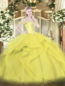Dramatic Yellow Ball Gowns Tulle Off The Shoulder Sleeveless Beading and Ruffles Floor Length Lace Up Quinceanera Gown