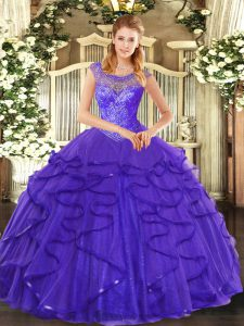 Best Blue Ball Gowns Scoop Sleeveless Tulle Floor Length Lace Up Beading and Ruffles 15 Quinceanera Dress