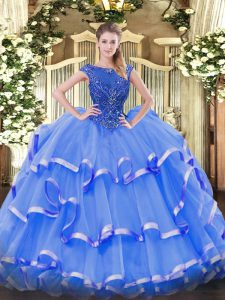 Blue Sleeveless Organza Zipper Ball Gown Prom Dress for Sweet 16 and Quinceanera
