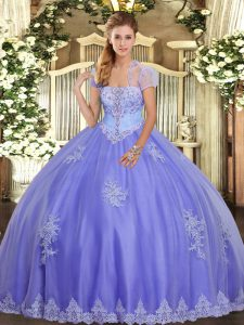 Beauteous Tulle Sleeveless Floor Length Ball Gown Prom Dress and Appliques