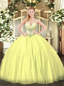 Sweetheart Sleeveless Satin Ball Gown Prom Dress Beading Lace Up