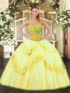 Latest Yellow Lace Up Quince Ball Gowns Beading and Ruffles Sleeveless Floor Length