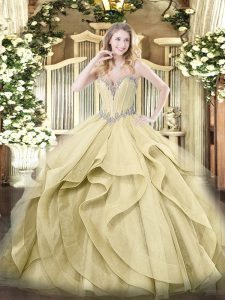 Yellow Sweetheart Neckline Beading and Ruffles Ball Gown Prom Dress Sleeveless Lace Up