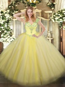 Flare V-neck Sleeveless Tulle Ball Gown Prom Dress Beading Lace Up