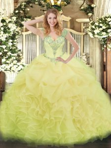 Sleeveless Lace Up Floor Length Beading and Ruffles and Pick Ups Sweet 16 Quinceanera Dress