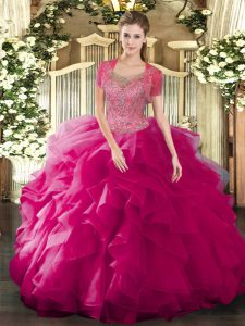 Fuchsia Clasp Handle Scoop Beading and Ruffled Layers Quinceanera Dresses Tulle Sleeveless