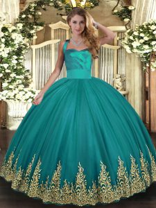 Ball Gowns 15 Quinceanera Dress Turquoise Halter Top Tulle Sleeveless Floor Length Lace Up