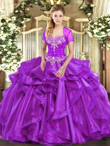 Sleeveless Organza Floor Length Lace Up Quinceanera Gown in Purple with Beading and Ruffles