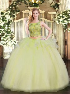 Deluxe Yellow Scoop Lace Up Beading 15 Quinceanera Dress Sleeveless