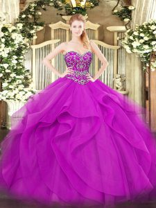 Unique Sweetheart Sleeveless Tulle Vestidos de Quinceanera Beading and Ruffles Lace Up