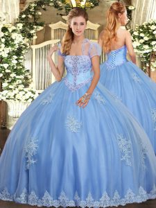 Tulle Strapless Sleeveless Lace Up Beading and Appliques Quinceanera Gown in Light Blue