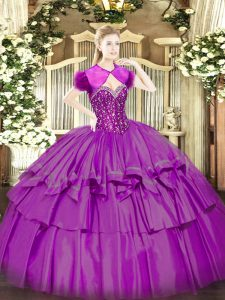 High Class Sleeveless Lace Up Floor Length Beading and Ruffled Layers Sweet 16 Quinceanera Dress