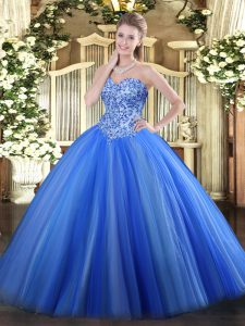 Glittering Tulle Sleeveless Quinceanera Gowns and Appliques
