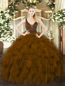 Brown Ball Gowns Beading and Ruffles Sweet 16 Quinceanera Dress Zipper Organza Sleeveless Floor Length