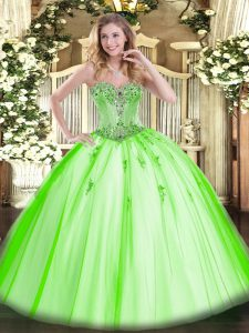 Tulle Sleeveless Floor Length Vestidos de Quinceanera and Beading and Appliques