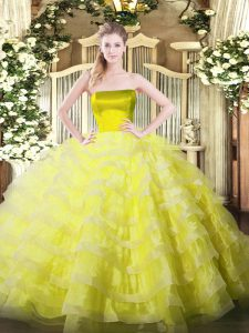 Exceptional Yellow Ball Gowns Tulle Strapless Sleeveless Ruffled Layers Floor Length Zipper 15 Quinceanera Dress
