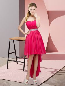 Classical Hot Pink Chiffon Lace Up Quinceanera Court Dresses Sleeveless High Low Beading