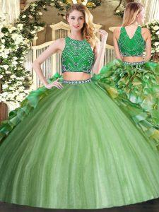 Deluxe Floor Length Olive Green Quince Ball Gowns High-neck Sleeveless Zipper