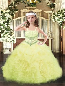 Custom Fit Yellow Ball Gowns Straps Sleeveless Organza Floor Length Lace Up Beading and Ruffles and Pick Ups Pageant Dress for Teens