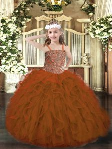 Beauteous Floor Length Rust Red Little Girls Pageant Dress Tulle Sleeveless Beading and Ruffles