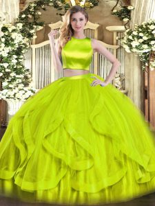 Fashion High-neck Sleeveless Quince Ball Gowns Floor Length Ruffles Yellow Green Tulle