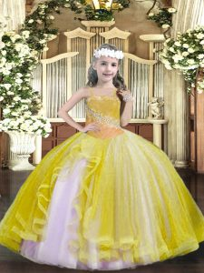 New Style Straps Sleeveless Tulle High School Pageant Dress Beading Lace Up