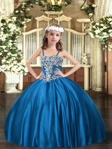 Blue Ball Gowns Satin Straps Sleeveless Appliques Floor Length Lace Up Little Girl Pageant Dress