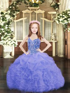 Blue Sleeveless Beading and Ruffles and Pick Ups Floor Length Pageant Dress for Teens