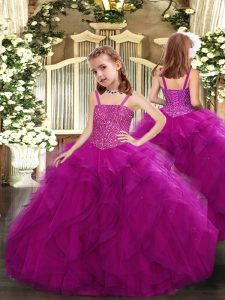 Cute Straps Sleeveless Lace Up Pageant Gowns For Girls Fuchsia Tulle