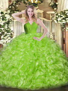 New Arrival V-neck Sleeveless Zipper Quinceanera Gown Organza