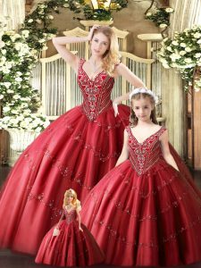 Edgy Red Straps Lace Up Beading Vestidos de Quinceanera Sleeveless