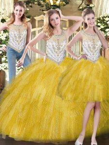 Yellow Zipper Scoop Beading and Ruffles 15th Birthday Dress Organza Sleeveless