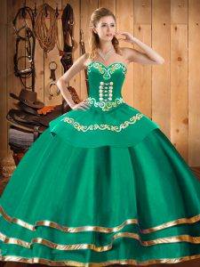 Great Turquoise Sweetheart Lace Up Embroidery Sweet 16 Dresses Sleeveless