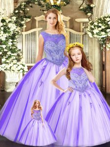 Eggplant Purple Sleeveless Tulle Lace Up Quinceanera Gowns for Military Ball and Sweet 16 and Quinceanera