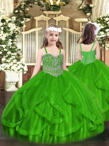Green Sleeveless Tulle Lace Up Little Girl Pageant Dress for Party and Quinceanera