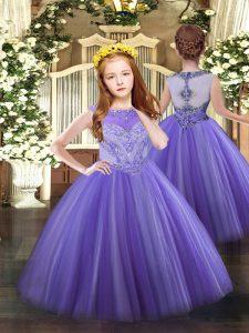 Sleeveless Zipper Floor Length Beading Little Girl Pageant Gowns