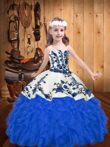 Straps Sleeveless Lace Up Little Girls Pageant Dress Blue Organza