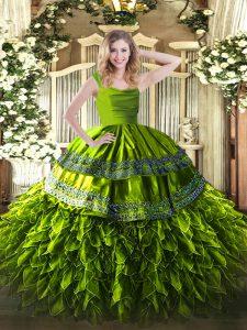 Fantastic Floor Length Olive Green Ball Gown Prom Dress Straps Sleeveless Zipper