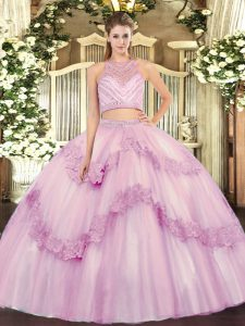 Two Pieces Quince Ball Gowns Lilac Scoop Tulle Sleeveless Floor Length Zipper