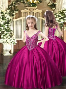 Floor Length Ball Gowns Sleeveless Fuchsia Pageant Gowns For Girls Lace Up