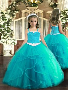 Attractive Straps Sleeveless Lace Up Girls Pageant Dresses Aqua Blue Tulle