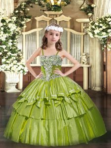 Sleeveless Lace Up Floor Length Appliques and Ruffled Layers Little Girls Pageant Dress