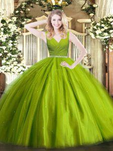 Graceful Olive Green Sleeveless Beading Floor Length Quinceanera Dresses
