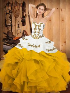 Hot Selling Sleeveless Floor Length Embroidery and Ruffles Lace Up Vestidos de Quinceanera with Yellow And White