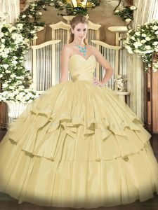 Dramatic Sleeveless Beading and Ruffled Layers Lace Up Sweet 16 Quinceanera Dress